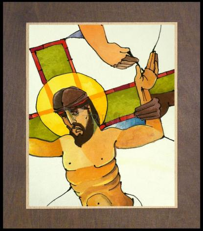 Wood Plaque Premium - Stations of the Cross - 11 Jesus is Nailed to the Cross by M. McGrath