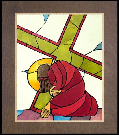 Wood Plaque Premium - Stations of the Cross - 07 Jesus Falls a Second Time by M. McGrath