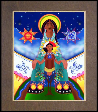 Wood Plaque Premium - Lakota Tipi Madonna by M. McGrath
