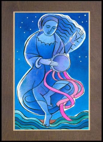 Wood Plaque Premium - St. Miriam Dancing in Darkness by M. McGrath