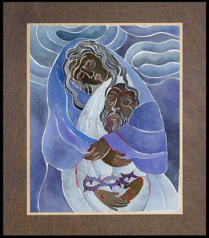 Wood Plaque Premium - Mary, Mother of Sorrows by M. McGrath