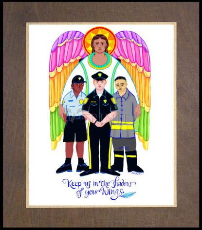 Wood Plaque Premium - St. Michael Archangel: Patron of Police and First Responders by M. McGrath