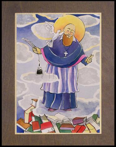 Wood Plaque Premium - St. Francis de Sales, Patron of Writers by M. McGrath