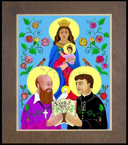 Wood Plaque Premium - Sts. Francis de Sales and John Bosco by M. McGrath