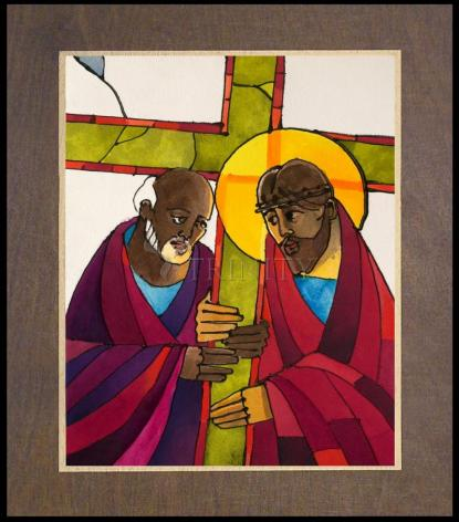 Wood Plaque Premium - Stations of the Cross - 05 Simon Helps Jesus Carry the Cross by M. McGrath
