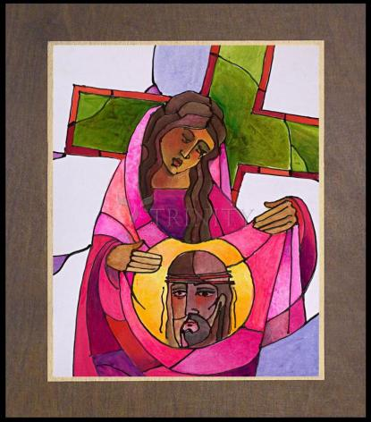 Wood Plaque Premium - Stations of the Cross - 06 St. Veronica Wipes the Face of Jesus by M. McGrath