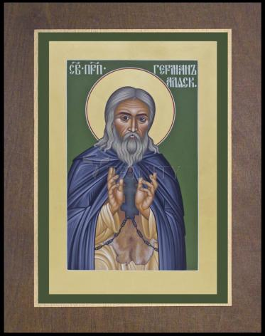 Wood Plaque Premium - St. Herman of Alaska by R. Lentz