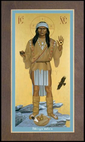 Wood Plaque Premium - Apache Christ by R. Lentz