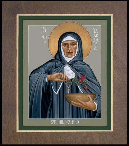 Wood Plaque Premium - St. Hildegard of Bingen by R. Lentz