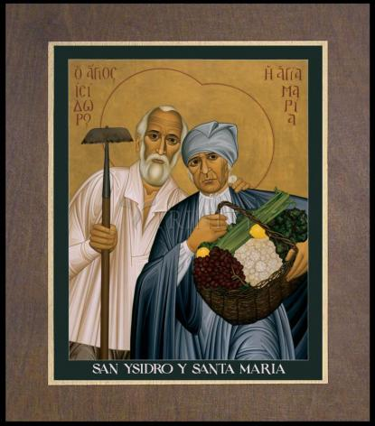 Wood Plaque Premium - Sts. Isidore and Maria by R. Lentz