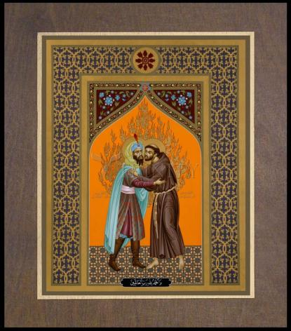 Wood Plaque Premium - St. Francis and the Sultan by R. Lentz