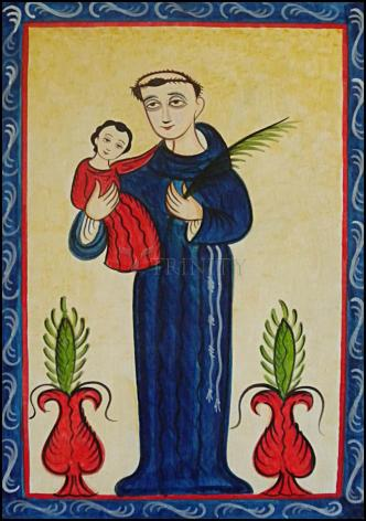 Wood Plaque - St. Anthony of Padua by A. Olivas