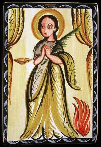 Wood Plaque - St. Agatha by A. Olivas