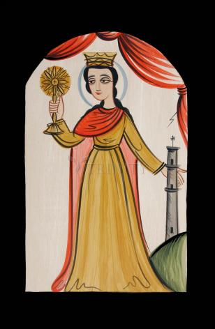 Wood Plaque - St. Barbara by A. Olivas