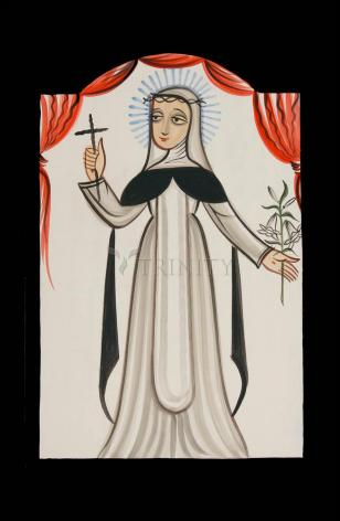 Wood Plaque - St. Catherine of Siena by A. Olivas