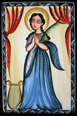 Wood Plaque - St. Cecilia by A. Olivas