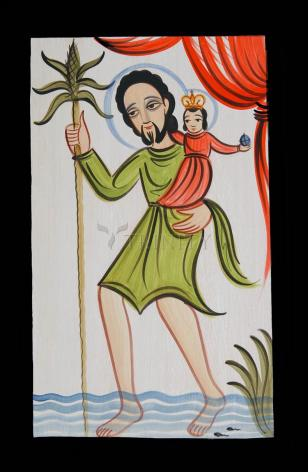 Wood Plaque - St. Christopher by A. Olivas