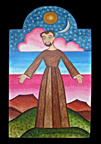 Wood Plaque - St. Francis of Assisi, Herald of Creation by A. Olivas