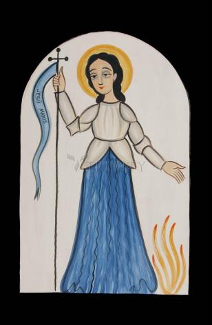 Wood Plaque - St. Joan of Arc by A. Olivas