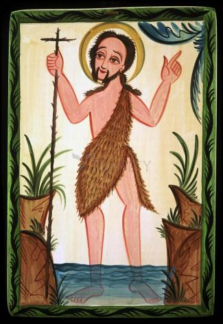 Wood Plaque - St. John the Baptist by A. Olivas