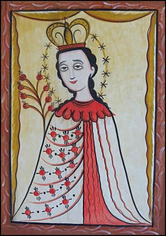 Wood Plaque - Our Lady of the Roses by A. Olivas