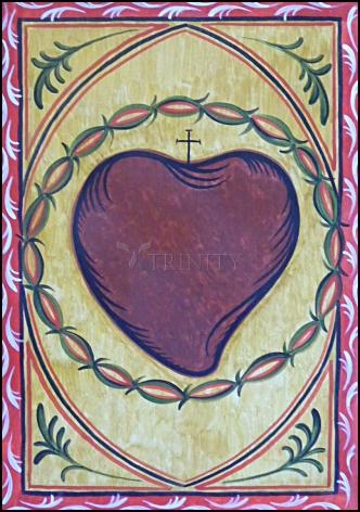 Wood Plaque - Sacred Heart by A. Olivas