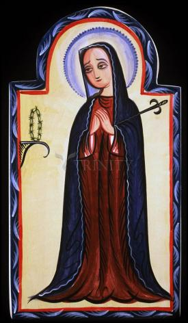 Wood Plaque - Mater Dolorosa - Mother of Sorrows by A. Olivas