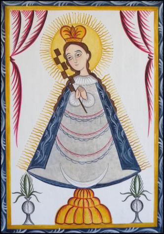 Wood Plaque - Virgin of the Macana by A. Olivas