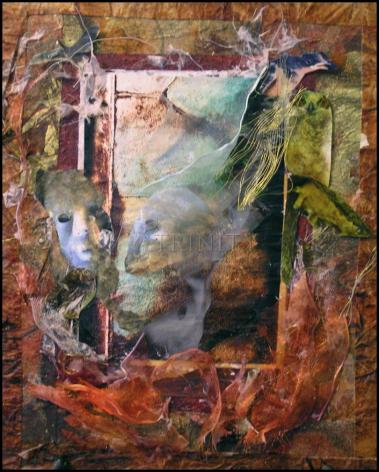 Wood Plaque - Faces Amidst Tattered Shroud by B. Gilroy