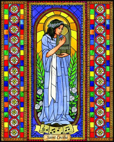 Wood Plaque - St. Cecilia by B. Nippert