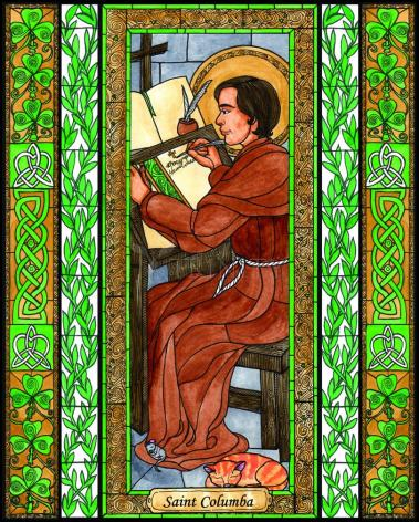 Wood Plaque - St. Columba by B. Nippert