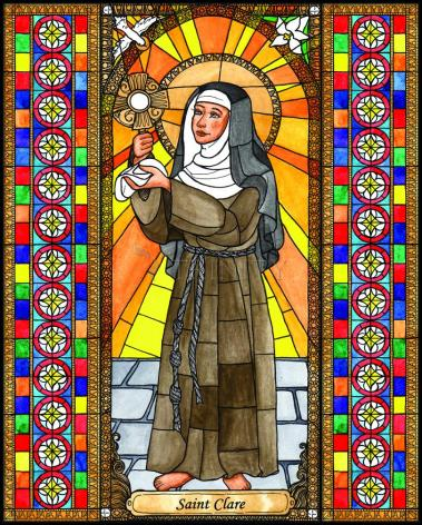 Wood Plaque - St. Clare of Assisi by B. Nippert