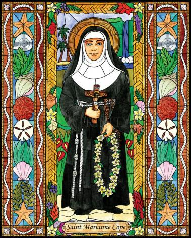 Wood Plaque - St. Marianne Cope by B. Nippert