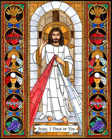 Wood Plaque - Divine Mercy by B. Nippert