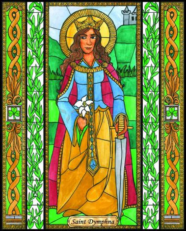 Wood Plaque - St. Dymphna by B. Nippert