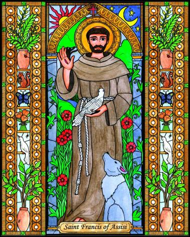Wood Plaque - St. Francis of Assisi by B. Nippert