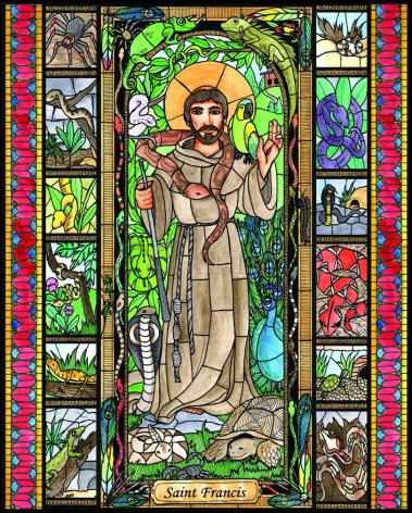 Wood Plaque - St. Francis - Patron of Exotic Animals by B. Nippert
