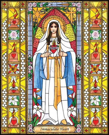 Wood Plaque - Immaculate Heart of Mary by B. Nippert