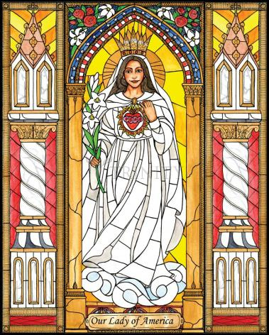 Wood Plaque - Our Lady of America by B. Nippert