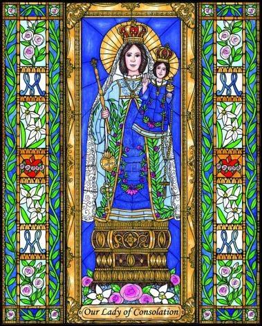 Wood Plaque - Our Lady of Consolation by B. Nippert
