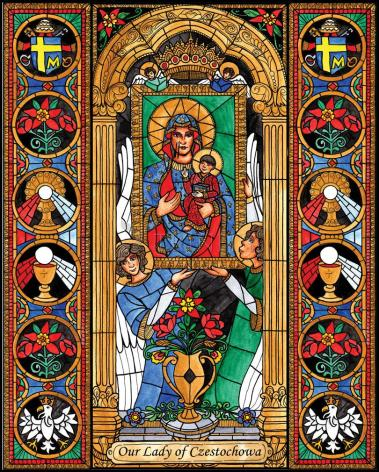 Wood Plaque - Our Lady of Czestochowa by B. Nippert