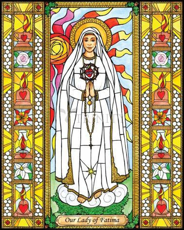 Wood Plaque - Our Lady of Fatima by B. Nippert