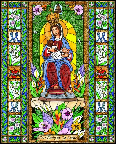 Wood Plaque - Our Lady of the Milk by B. Nippert