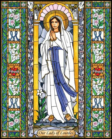 Wood Plaque - Our Lady of Lourdes by B. Nippert