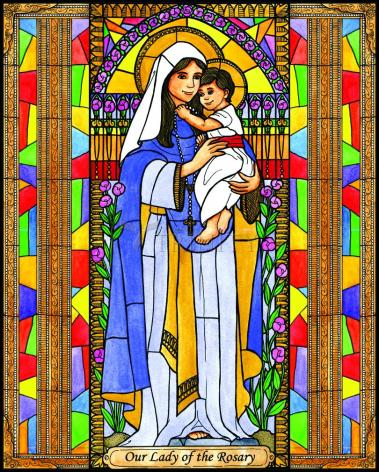 Wood Plaque - Our Lady of the Rosary by B. Nippert