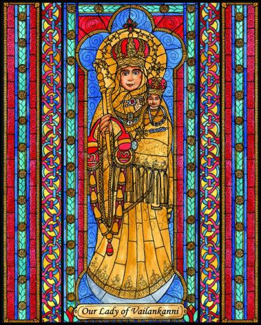 Wood Plaque - Our Lady of Vailankanni by B. Nippert