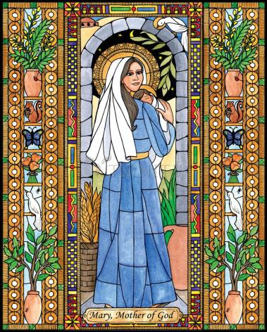 Wood Plaque - Mary, Mother of God by B. Nippert