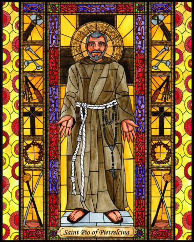 Wood Plaque - St. Padre Pio by B. Nippert