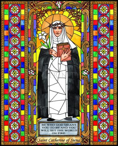 Wood Plaque - St. Catherine of Siena by B. Nippert