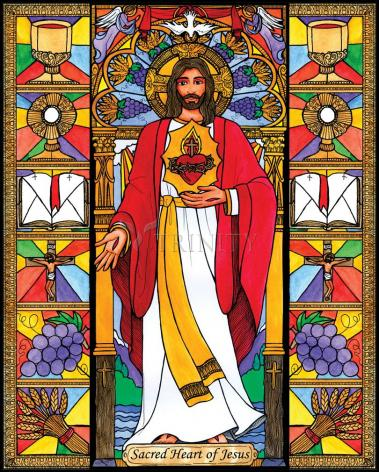 Wood Plaque - Sacred Heart of Jesus by B. Nippert